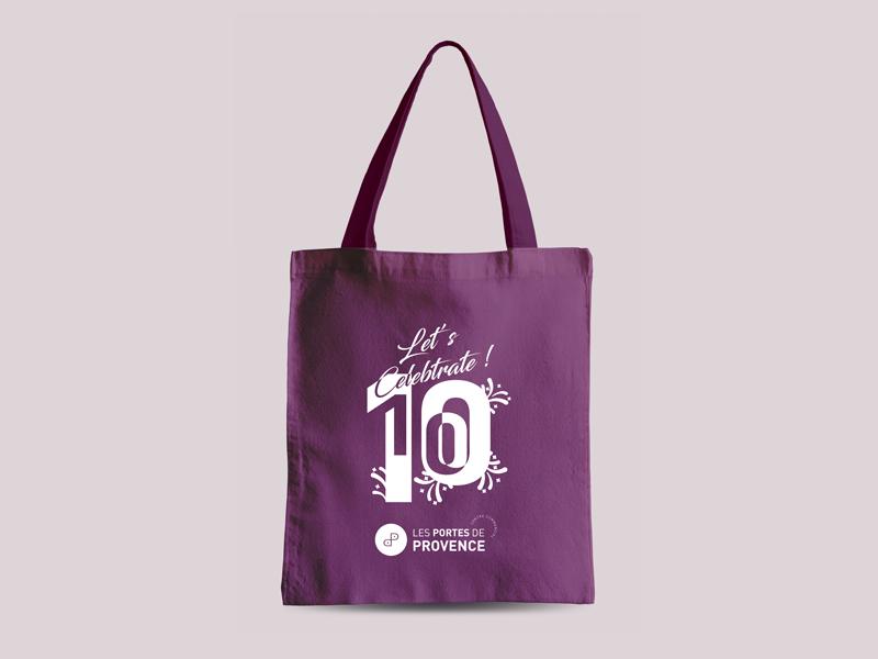 Porte-de-Provense--cenre-comerciale-logotype-branding-10-ans-tote-bag
